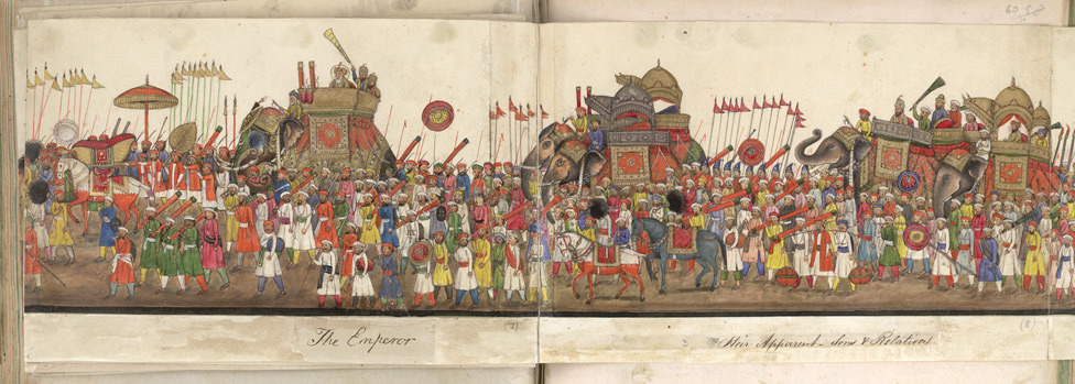 A panorama in 12 folds showing the procession of the Emperor Bahadur Shah to celebrate the feast of the 'Id. f. 59v-D
